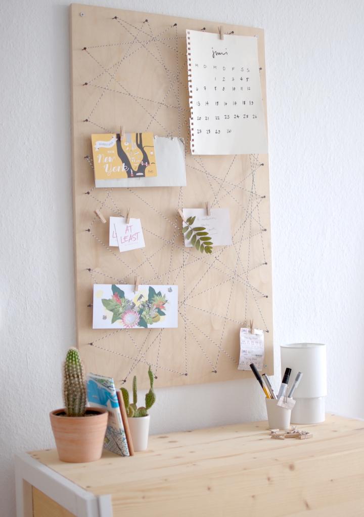 DIY. Haz un precioso memoboard con hilos y clavos